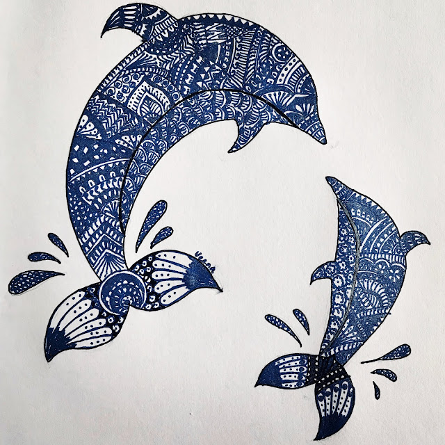 Doodling Henna Design Dolphin and Baby- meditative art