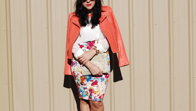Vancouver fashion blogger, Elenian leather Theory jacket, Floral pencil skirt, Topshop heels and a gold Gap clutch.