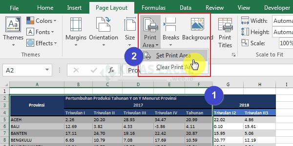 Mengatur Print Area Excel