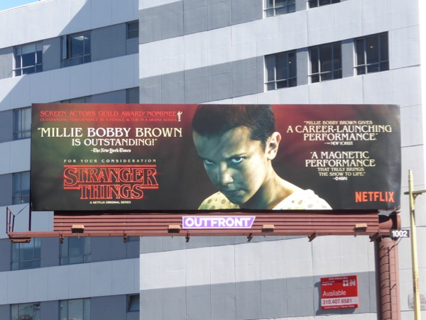 Stranger Things Millie Bobby Brown consideration billboard