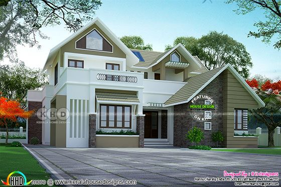 Sloped roof 4 bedroom 2410 square feet house plan