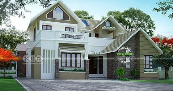 Sloped Roof 4 Bedroom 2410 Square Feet House Plan Kerala