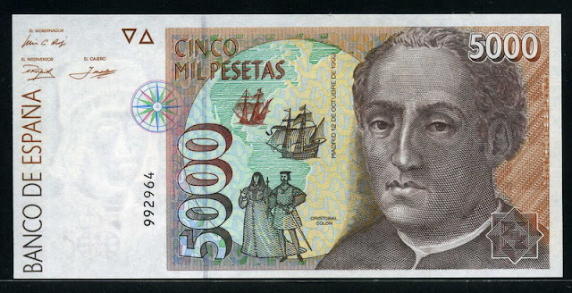 Spain currency money 5000 Pesetas Christopher Columbus banknote