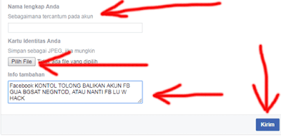 cara mengisi formuli banding kembalikan akun facebook yang diblokir