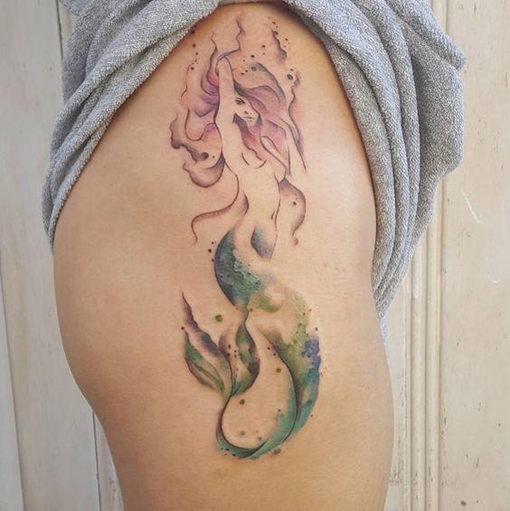 watercolor mermaid tattoos