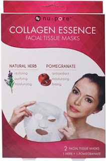 United Exchange, Collagen Essence Facial Tissue Masks, Natural Herb & Pomegranate, 2 Masks  يعطي احساس منعش و مريح للوجه