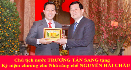 Chủ tịch nước Trương Tấn Sang trao tặng kỷ niệm chương cho NSC Nguyễn Hải Châu