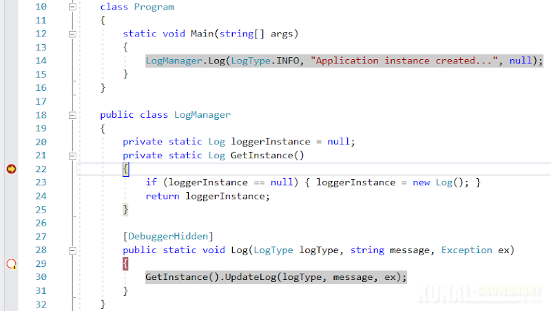 Use DebuggerHidden attribute to hide methods from debugger breakpoints