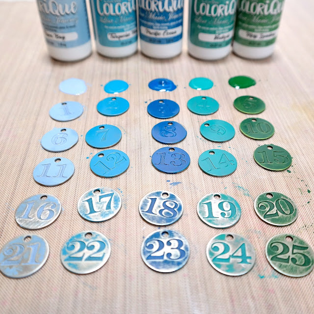 How to Apply ColoriQue Ink to Metal Number Tokens by Dana Tatar