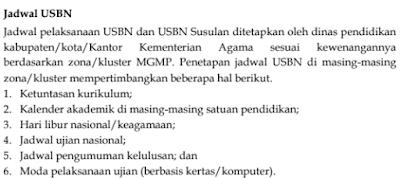Jadwal Pelaksanaan USBN SMP/MTs DAN YANG SEDERAJAT