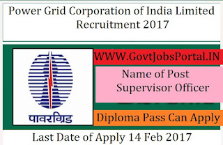 Power Grid Corporation of India Limited Recruitment 2017 – Field Supervisors Officer