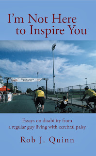 Cover of book with picture of Rob finishing the MS Ride