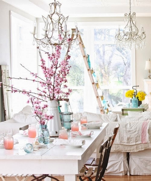pretty spring decoration with pink blooming branches
