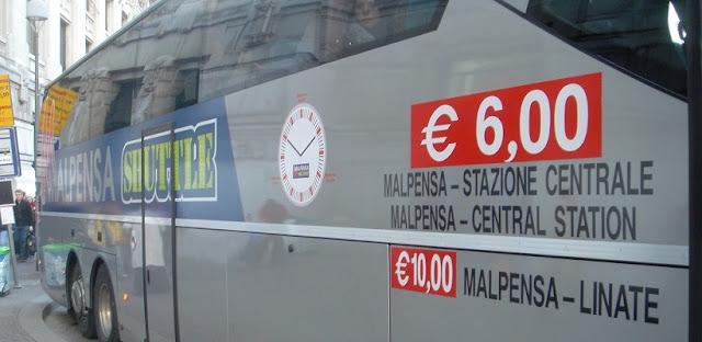 Ônibus do aeroporto Malpensa até o centro turístico de Milão