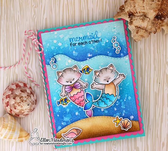 Purr-maid Cat Mermaid Card by Maria Ellen Haxelmans | Purr-maid Newton Stamp Set by Newton's Nook Designs #newtonsnook #handmade