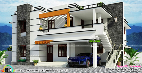 Duplex house in flat roof style