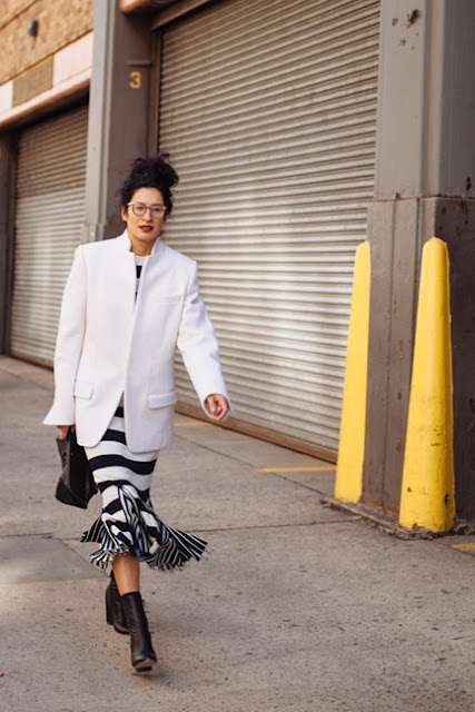 stripes, striped skirt, white blazer, fall 2016, street style, spring 2016, trends, fashion week, NYFW, PFW, LFW, new york fashion week, paris fashion week, london fashion week