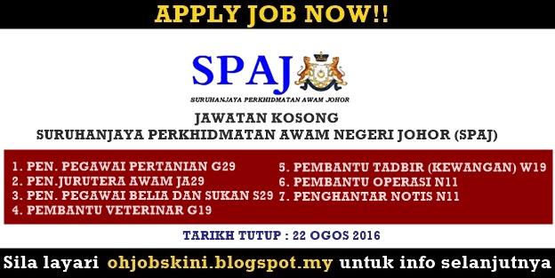 Jawatan Kosong Suruhanjaya Perkhidmatan Awam Johor (SPAJ)