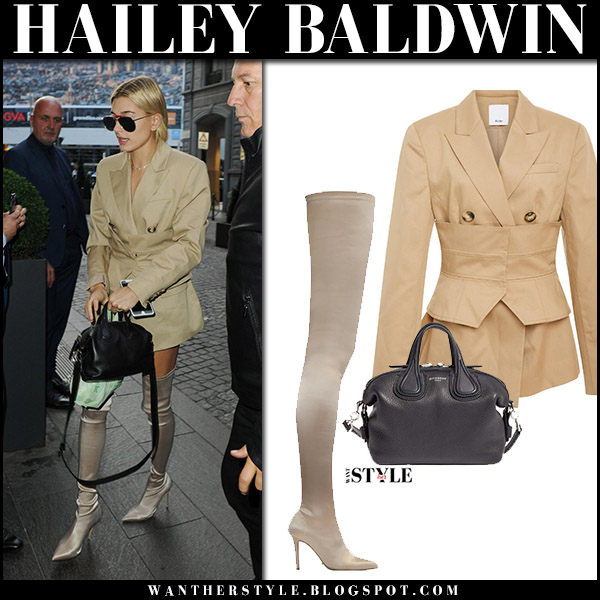 Hailey Baldwin in beige blazer and beige thigh boots tony bianco dene september 23 2017 milan fashion week
