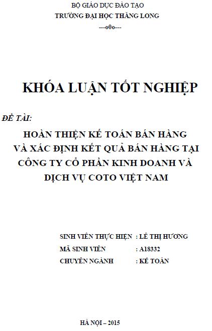 Hoàn thiện kế toán bán hàng và xác định kết quả bán hàng tại Công ty Cổ phần Kinh doanh và Dịch vụ Coto Việt Nam