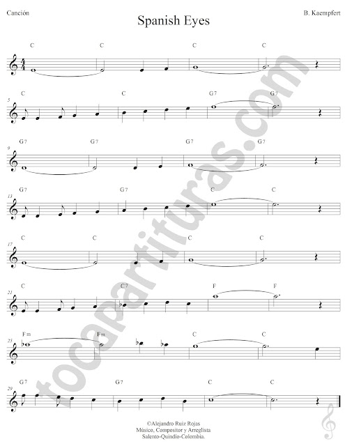 Spanish Eyes de Engelbert Humperdinck Partitura con Acordes Spanish Eyes Sheet Music with Chords