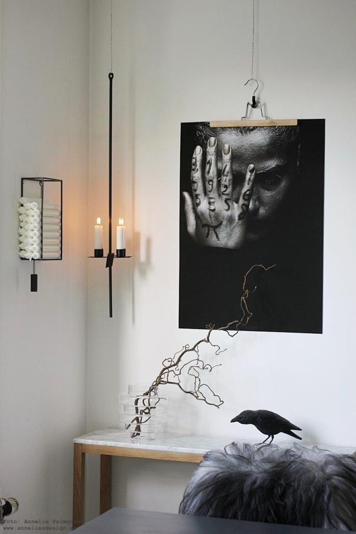 annelies design, webbutik, webshop, nätbutik, woman, tattoo, poster, posters, tavla, byxgalge, galge, byta motiv, kök, hängande ljusstake, ljusstakar, ljusförvaring, på väggen, vägg, mini, makeover, svart och vitt, svartivt, svartvita, konsolbord, marmor