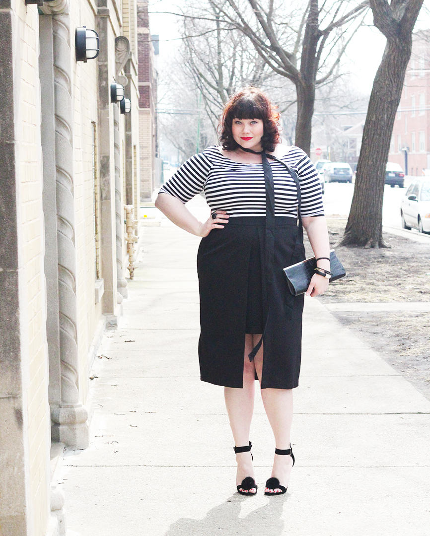 Plus Size Blogger Amber in a Split Front Hi Lo Plus Size Skirt from Eloquii via Gwynnie Bee
