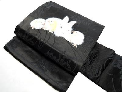 兎とヒヨコのかわいい名古屋帯