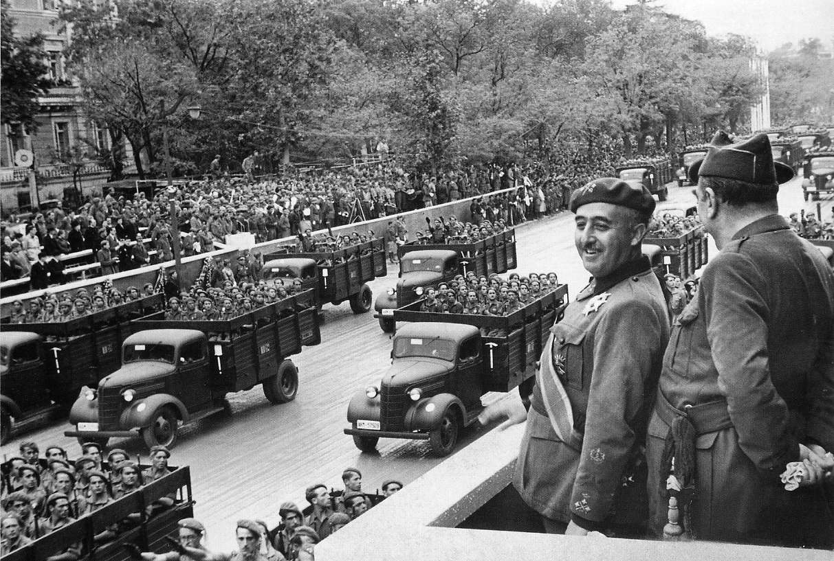 Generalissimo Francisco Franco reviewing his Falangist troops after taking Madrid in 1939