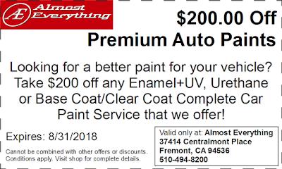Discount Coupon $200 Off Premium Auto Paint Sale August 2018