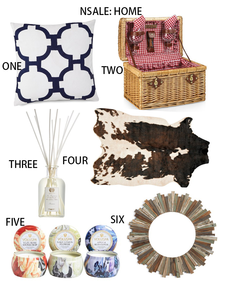 Nordstrom anniversary sale, nsale, nsale for home, Jill Rosenwald Embroidered Links Pillow, Picnic Time Chardonnay Wicker Wine Basket, Antica Farmacista Prosecco Home Ambiance Perfume,LOLOI Grand Canyon Large Spot Rug , Voluspa 'Maison Jardin Mini Tin Candle Trio,  CRYSTAL ART GALLERY Wooden Wall Mirror