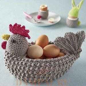 Корзинка крючком для пасхальных яиц