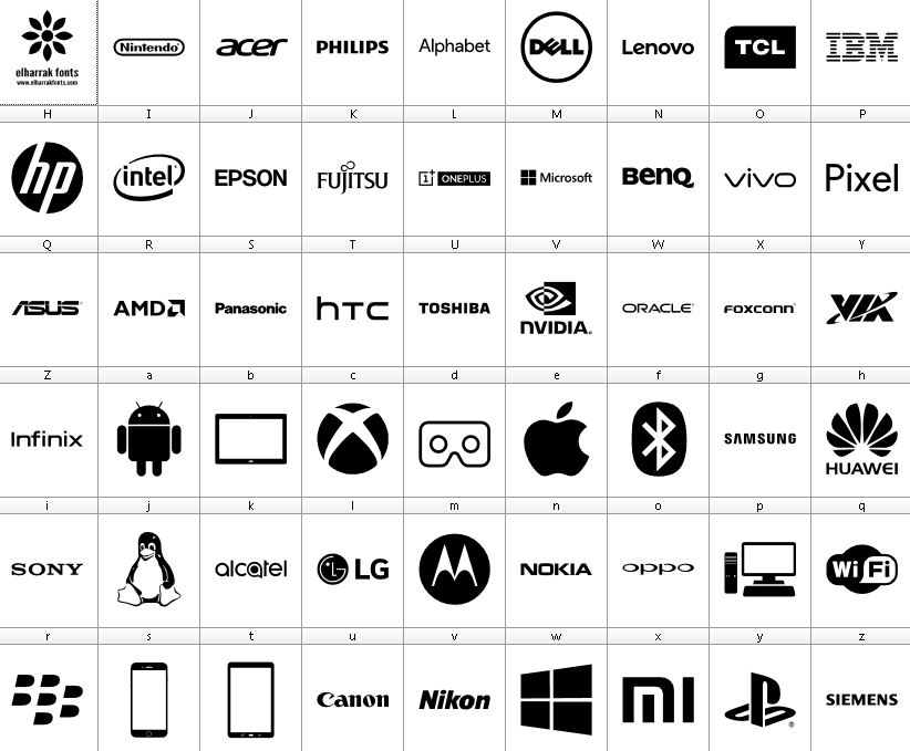 Download Font Logos Technology Font Icons - el fonts vectors