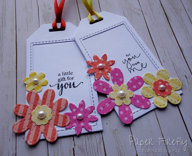 Floral tags using MFT Blueprints and stitched flowers