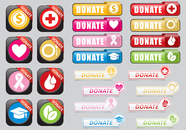 Vector Background Donate Web Buttons