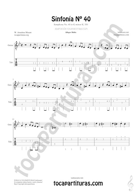Tablatura y Partitura de Guitarra Tablature Punteo Tab Simphony de Sinfonía Nº40 de Mozart Sheet Music for Guitar Music Scores