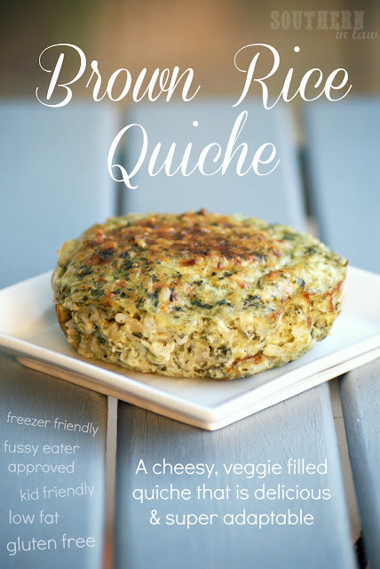 Crustless Brown Rice Quiche - Gluten Free, Low Fat, Healthy