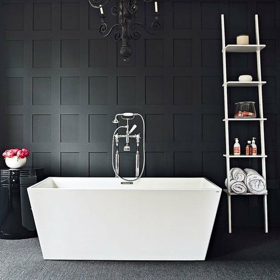 Black White And Silver Bathroom: Modern: Painted Wall Paneling