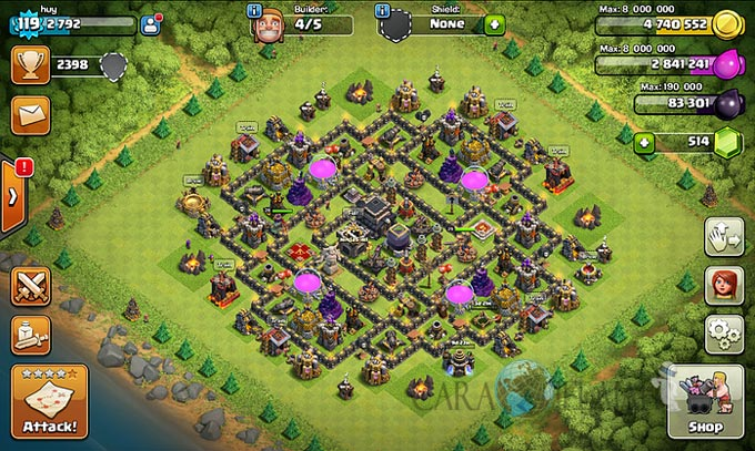 Base Farming TH 9 COC Update Bomb Tower Terbaru 2017 Tipe 13
