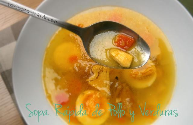 Sopa Rápida de Pollo y Verduras.