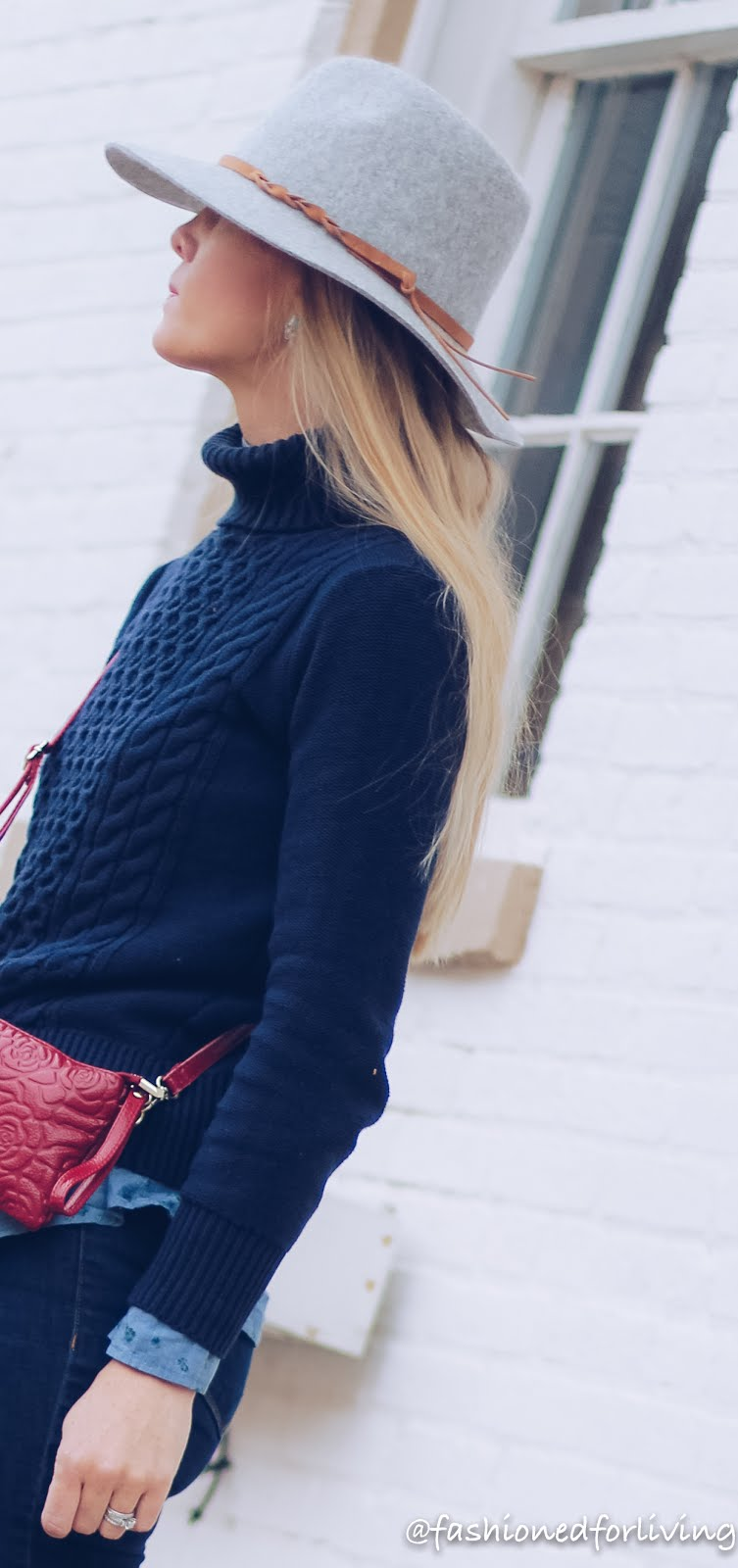 navy turtleneck sweater outfit