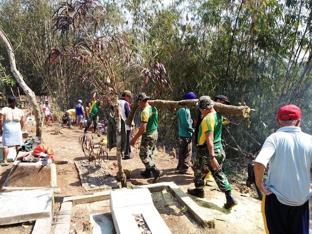 Sambut HUT Ke-73 TNI, Prajurit Yonarmed 11 Kostrad Karya Bhakti di Desa Wates Magelang
