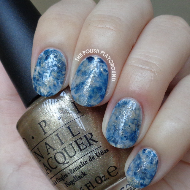 Grey, Blue, and Gold Stamping Marble Nail Art
