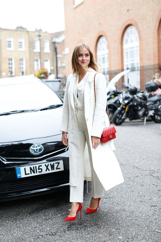 all white outfit - LFW SS17 street style