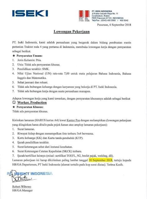 Loker PT ISEKI INDONESIA