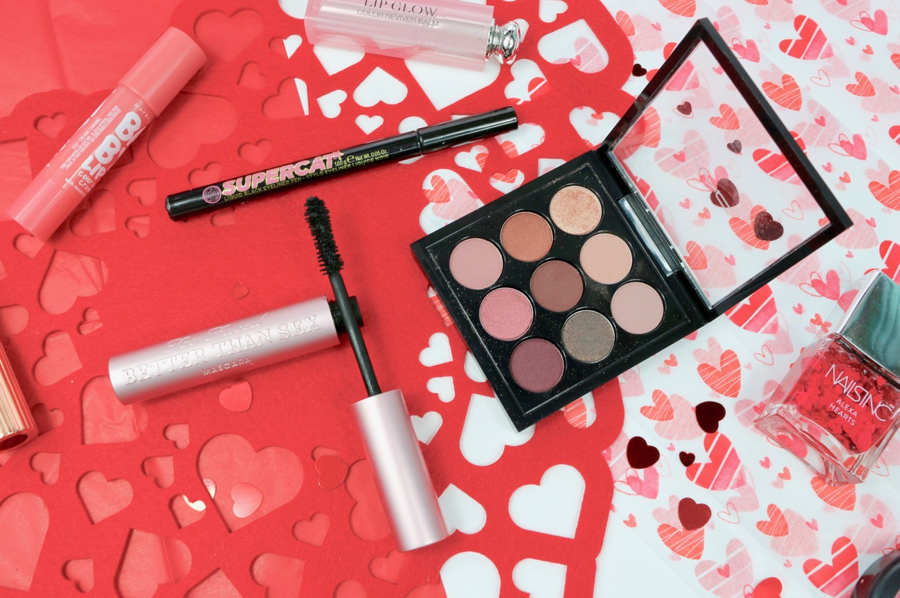 Valentine's Day Makeup Picks Too Faced Better Than Sex Mascara, MAC Burgundy Times Nine Eye Shadow, Soap & Glory Supercat Eyeliner.