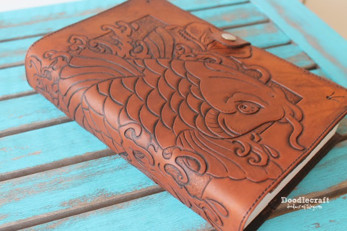 Leather Book Cover Photo Tutorial : Doodlecraft leather tooled book cover with koi and hibiscus