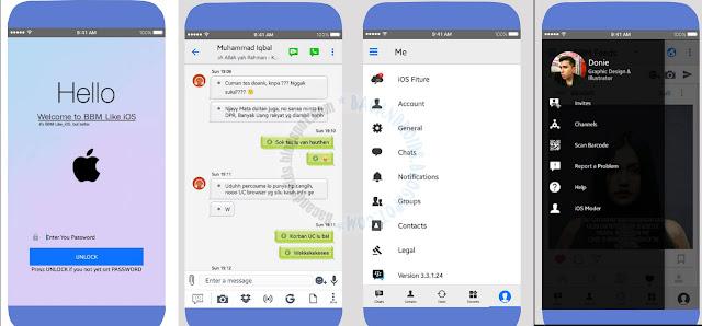 BBM Mod Like ios update v3.3.1.24 Apk Terbaru