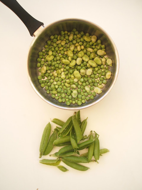 podding homegrown peas and broad beans