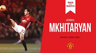 Mkhitaryan Man of the Match Manchester United vs West Ham 4-1